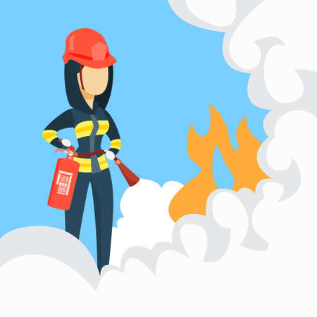 Female firefighter with extinguisher and helmet for protection.