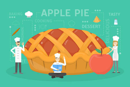 Cooking giant apple pie.