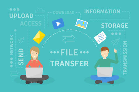 File transfer concept. Two people exchanging documents.