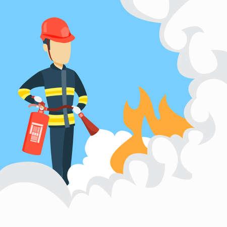 Mężczyzna strażak z gaśnicą.