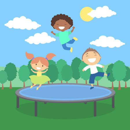 Kids on trampoline.