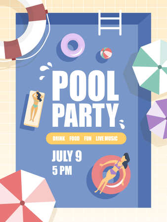 Pool party illustration.