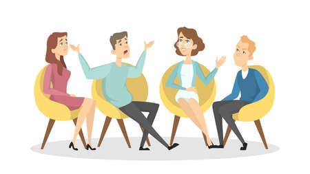 Psychologists with patients. Stock Illustratie