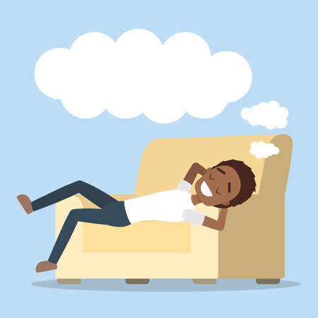 Man relaxing and dreaming.