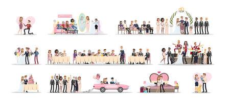 Bruidspaar set. Vector Illustratie