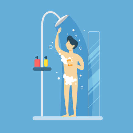 Man in shower.