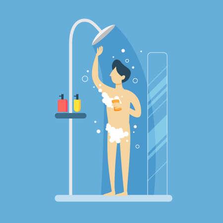 Hombre en la ducha. Ilustración de vector