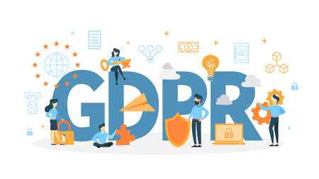 GDPR concept illustration. 向量圖像