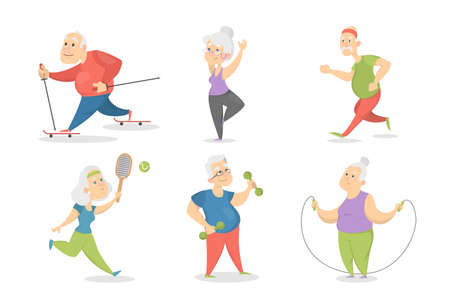 Old people doing sport set.
