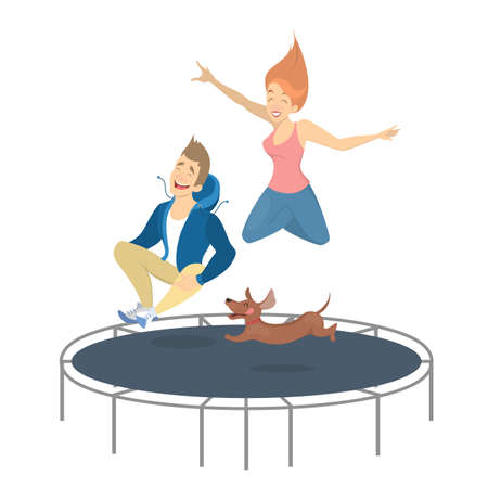 People on trampoline.