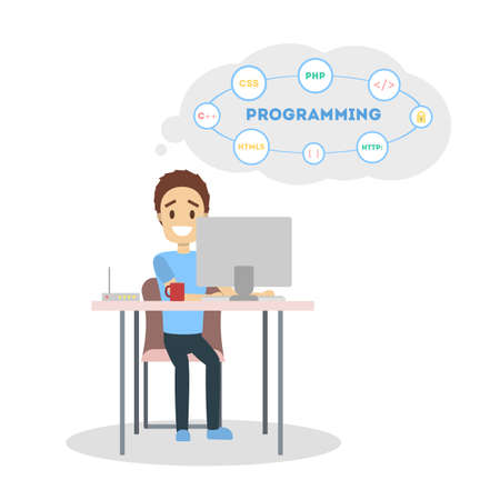 Male programmer with laptop on white background. 일러스트