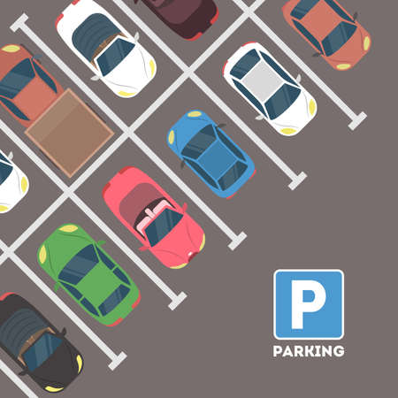 Parking in city. Stock Illustratie
