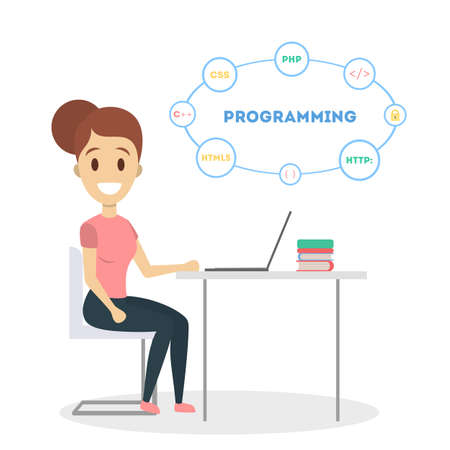 Female programmer with laptop on white background.