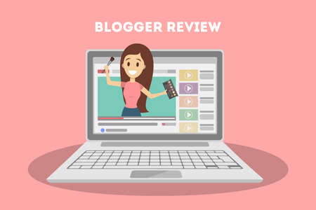 Female video blogger. People doing review on screen.