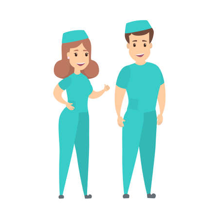 Isolated nurses couple. Иллюстрация