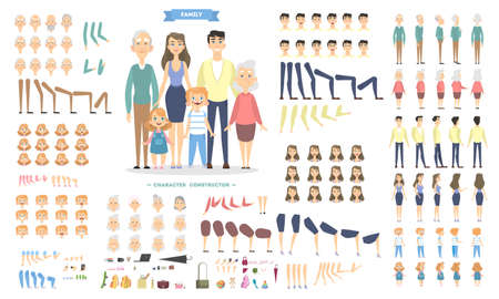 Familiekarakters met poses en emoties. Vector Illustratie