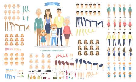 Personajes familiares ambientados con poses y emociones. Ilustración de vector