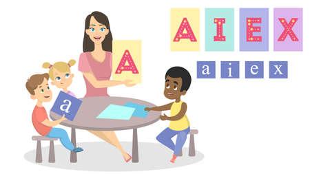 Alphabet studying with teacher.