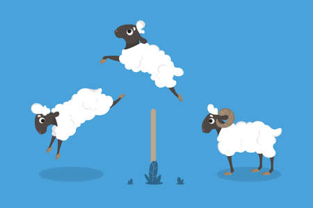 Isolated jumping sheep. Illustration
