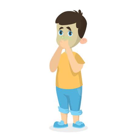 Boy with nausea. Illustration