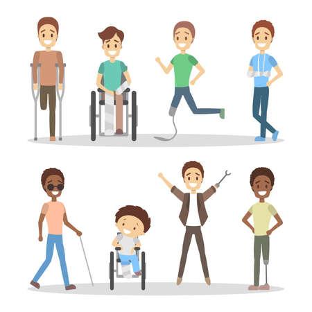 Conjunto de personas con discapacidad. Ilustración de vector