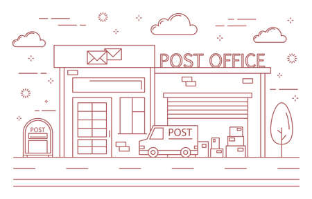 Post office building. Illustration