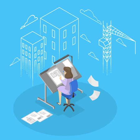 Female engineer and architecturer. Stock Illustratie