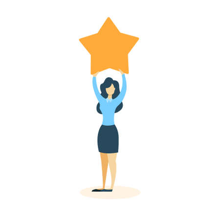 Isolated businesswoman standing with golden star on white.