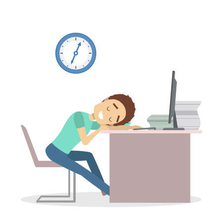 Businessman tired at office. Illustration