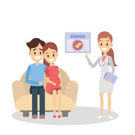 Schwangerschaft in der Klinik. Elternschaftserziehung mit Arzt auf Weiß. Vektorgrafik