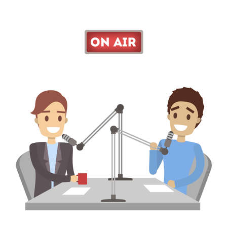 Presentadores de radio establecidos. Ilustración de vector