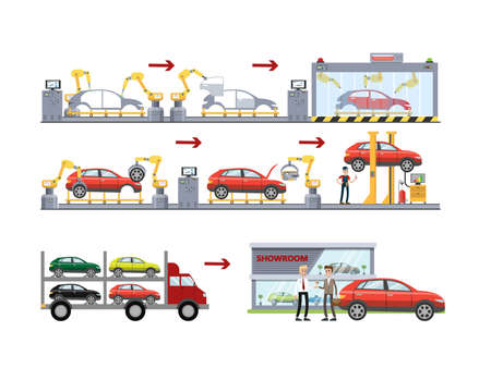 Car production set. Illustration