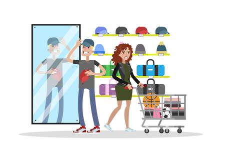 Sportwinkel stad bouwen met klanten en uitrusting.