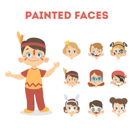 Set of happy children portraits with painted faces. American indian costume for boys and animal masks for halloween party such as dog, panda, rabbit. Isolated vector illustration in cartoon style