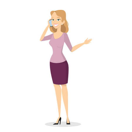 Beautiful young blonde woman dressed in casual clothes standing and chatting on the mobile phone. Isolated vector illustration in cartoon style Illustration