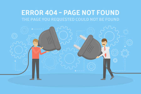 Two men holding wire plug and socket trying to fix the web page. 404 error page not found concept. Flat vector illustration of internet connection problem with gear signs on the background Illustration
