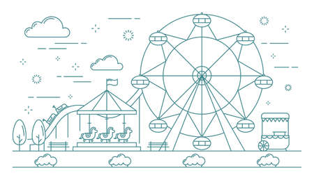 Horizontal banner of amusement park. Great attractions such as carousel with horses, ferris wheel, roller coaster and ice-cream truck. Line vector illustration