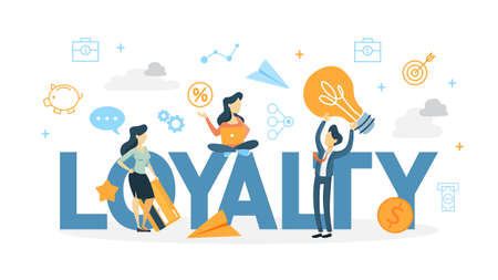 Customer loyalty. Business conception of building relationship with customers and support them to get a good feedback and positive rating. Isolated flat line vector illustration