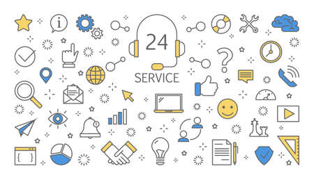 Customer service concept. Set of line icons for feedback, service and business icons. Isolated line vector illustration