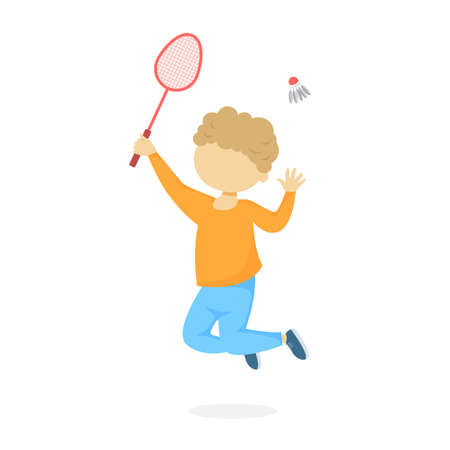 Little cute boy in orange shirt and blue pants holding racket and throwing shuttlecock in the air. Playing badminton and having fun. Isolated flat vector illustration