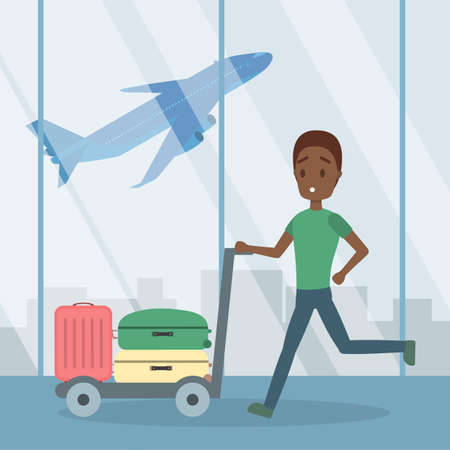 Man is late for the airplane Illustration