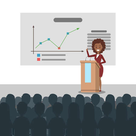 Beautiful smart business woman standing at the white board making presentation and explaining graphs to the group of people. Isolated flat vector illustration