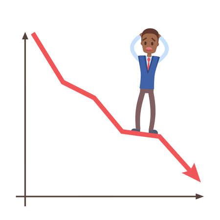 Concepto de crisis financiera. Triste hombre de negocios de pie sobre un gráfico que cae. Idea de quiebra. Ilustración de vector plano aislado. Ilustración de vector