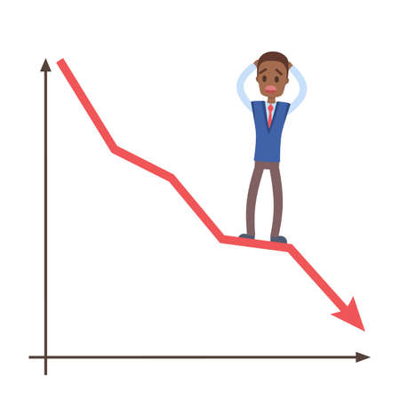Financial crisis concept. Sad businessman standing on a falling down graph. Idea of bankrupt. Isolated flat vector illustration. Çizim