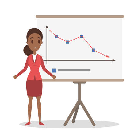 Financial crisis concept. Sad business woman standing at the whiteboard and looking at a falling down graph. Idea of bankrupt. Isolated flat vector illustration.  イラスト・ベクター素材