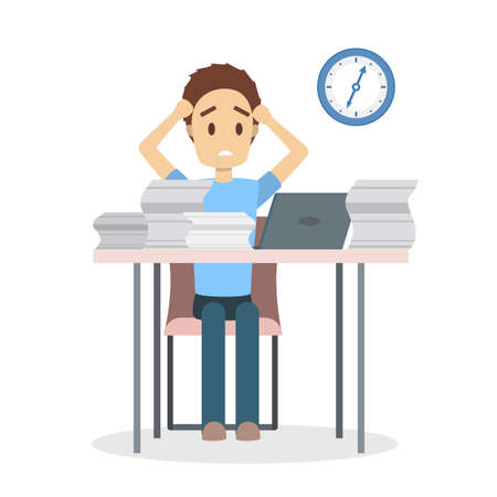 Tired male office worker sitting at the desk with huge pile of paper. Stressed businessman has a lot of work. Isolated flat vector illustration