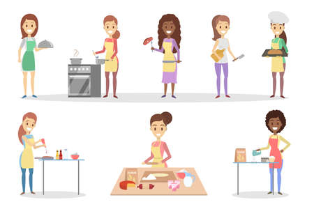 Set of cute smiling housewifes cooking various dishes in the kitchen. Soup, pizza, bread and other delicious homemade food. Isolated flat vector illustration