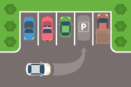Stad auto parkeren bovenaanzicht. De auto parkeren op de lege parkeerplaats. Platte vectorillustratie