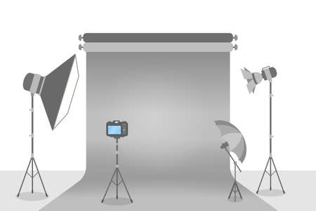 Empty photostudio with various equipment for photoshoots. Camera, softbox, decoration and spotlights. Isolated flat vector illustration