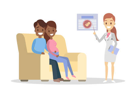 Pregnant woman and her husband visiting female doctor in a hospital. Couple sitting on the couch and listening to the doctor. Consultation with specialist. Isolated flat vector illustration